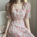 Women's large Summer 2021 Picture color S,M,L Dress singleton  commute Self cultivation moderate Socket Short sleeve Retro square neck puff sleeve Medium length
