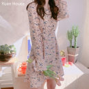 Dress Autumn of 2019 Pink, Navy S,M,L,XL Middle-skirt singleton  Long sleeves commute V-neck High waist Broken flowers Single breasted A-line skirt routine Others 25-29 years old Type A Other / other Korean version Chiffon