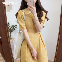 Dress Summer 2020 Blue, yellow, black S,M,L,XL Mid length dress singleton  Short sleeve commute Lotus leaf collar High waist Decor zipper A-line skirt routine Others 18-24 years old Type A Other / other Korean version Cut out, lace up, stitching, bandage, zipper, lace