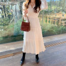 Dress Spring 2020 white S,M,L,XL Mid length dress singleton  Long sleeves commute V-neck High waist Solid color Socket A-line skirt puff sleeve Others 18-24 years old Type A Other / other Korean version Pleating, folding, stitching 81% (inclusive) - 90% (inclusive) Chiffon