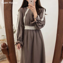 Dress Autumn 2020 Brown, apricot S,M,L,XL Mid length dress singleton  Long sleeves commute Crew neck High waist Solid color zipper A-line skirt routine Others 18-24 years old Type A Korean version