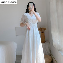 Dress Summer 2020 white S,M,L,XL Mid length dress singleton  Short sleeve commute Doll Collar High waist Solid color Socket Big swing puff sleeve Others 18-24 years old Type A Other / other Korean version Lace up, tie, button 31% (inclusive) - 50% (inclusive) polyester fiber