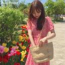 Dress Summer of 2019 Pink S,M,L,XL Middle-skirt singleton  Short sleeve commute V-neck High waist Broken flowers zipper A-line skirt routine Others 18-24 years old Type A Korean version Chiffon