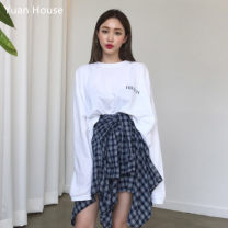 skirt Autumn 2020 Average size Blue checked skirt, letter long sleeve T-shirt Middle-skirt Versatile High waist Irregular lattice Type A 18-24 years old Other / other Bandage, asymmetric