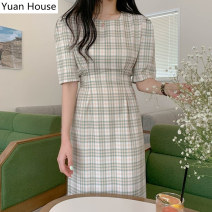 Dress Summer 2020 Picture color S,M,L,XL Mid length dress singleton  Short sleeve commute square neck High waist lattice zipper A-line skirt puff sleeve 18-24 years old Korean version printing