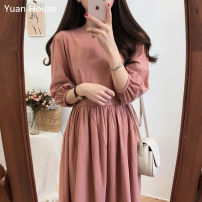 Dress Summer 2021 Apricot, brick red S,M,L,XL Mid length dress singleton  three quarter sleeve Sweet Crew neck High waist Solid color Socket Big swing bishop sleeve Type A Other / other 71% (inclusive) - 80% (inclusive) cotton college