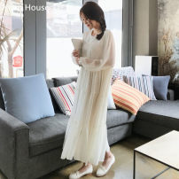 Dress Autumn 2020 white S,M,L,XL longuette singleton  Long sleeves commute Crew neck Loose waist Solid color Socket Big swing shirt sleeve Others 18-24 years old Type A Other / other Korean version Pleating 51% (inclusive) - 70% (inclusive) Chiffon