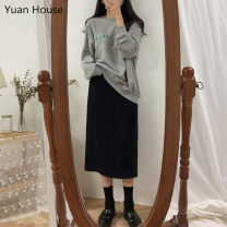 Fashion suit Autumn 2020 S,M,L,XL Skirt (regular), skirt (thickened), grey (one size), blue (one size) 18-25 years old Other / other 96% and above cotton