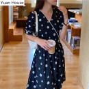 Dress Summer 2020 black S,M,L,XL Mid length dress Short sleeve commute V-neck High waist other Big swing puff sleeve Type A Korean version polyester fiber
