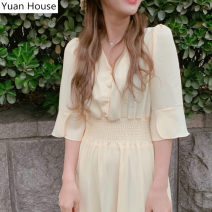 Dress Summer 2020 Purple, yellow S,M,L,XL Mid length dress singleton  commute V-neck Elastic waist Solid color Big swing Flying sleeve 18-24 years old Other / other Korean version fold Chiffon