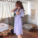 Dress Summer 2020 White, purple S,M,L,XL Mid length dress singleton  elbow sleeve commute V-neck High waist Decor zipper A-line skirt routine Others 18-24 years old Type A Other / other Korean version Lace up, strap, zipper, print 31% (inclusive) - 50% (inclusive) Chiffon other