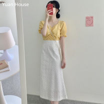 Fashion suit Summer 2020 S,M,L,XL Yellow top + white skirt, white top + white skirt 18-25 years old 51% (inclusive) - 70% (inclusive)