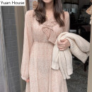 Dress Autumn 2020 Picture color S,M,L,XL Mid length dress singleton  Long sleeves commute Lotus leaf collar High waist Decor A-line skirt routine Others 18-24 years old Type H Korean version