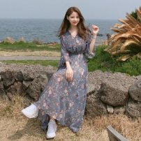 Dress Summer 2020 White, blue S,M,L,XL longuette singleton  three quarter sleeve commute V-neck High waist Decor Socket Big swing Lotus leaf sleeve Others 18-24 years old Type A Other / other Korean version Lace up, bandage, print 81% (inclusive) - 90% (inclusive) Chiffon polyester fiber