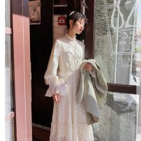 Dress Autumn 2020 XS,S,M,L,XL,2XL Mid length dress singleton  Long sleeves commute stand collar High waist Solid color Socket A-line skirt routine 18-24 years old Type A Retro Stitching, lace