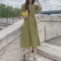 Dress Summer 2020 Apricot, light blue, dark blue, mustard green S,M,L,XL Mid length dress singleton  Short sleeve commute square neck High waist Solid color Socket Big swing Others 18-24 years old Type A Other / other Korean version Button 51% (inclusive) - 70% (inclusive) other hemp