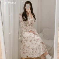 Dress Autumn 2020 Off white, black S,M,L,XL longuette singleton  Long sleeves commute V-neck High waist Decor Single breasted A-line skirt Lotus leaf sleeve Others 18-24 years old Type A Other / other Korean version Flounce, fungus, button, print Chiffon