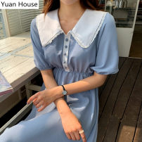 Dress Summer 2020 blue S,M,L,XL Mid length dress singleton  Short sleeve Sweet Doll Collar Elastic waist Solid color Single breasted A-line skirt puff sleeve 18-24 years old Type A Stitching, buttons, lace polyester fiber college