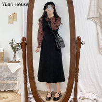 Dress Autumn 2020 Brown shirt, black dress with straps S,M,L,XL Mid length dress Two piece set Long sleeves commute Solid color A-line skirt routine straps 18-24 years old Type A Korean version