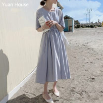 Dress Summer 2020 S,M,L,XL Mid length dress singleton  Short sleeve commute square neck Solid color Socket A-line skirt routine Others 18-24 years old Type A Korean version