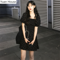 Dress Summer 2020 Black, apricot S,M,L,XL Short skirt singleton  Short sleeve commute square neck Elastic waist Broken flowers Socket other puff sleeve Others 18-24 years old Type A Other / other Korean version Ruffle, pleat, pleat, stitching, thread, wave, printing 51% (inclusive) - 70% (inclusive)