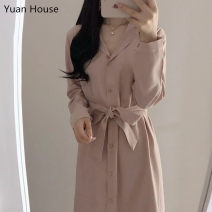 Dress Autumn 2020 Sky blue, pink S,M,L,XL Mid length dress singleton  Long sleeves commute Polo collar High waist Solid color Single breasted A-line skirt routine Others 18-24 years old Type H Other / other Korean version