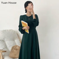 Dress Autumn 2020 Dark green, black S,M,L Mid length dress singleton  Long sleeves commute Crew neck High waist Solid color Socket A-line skirt puff sleeve Others 18-24 years old Other / other Korean version Stitching, bandage, zipper