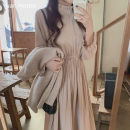 Dress Autumn 2020 Lotus root, mint green S,M,L,XL Mid length dress singleton  Long sleeves commute stand collar High waist Solid color Socket Pleated skirt pagoda sleeve Others 18-24 years old Type A Other / other Korean version Fold, Auricularia auricula
