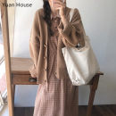Dress Winter 2020 Apricot dress, khaki sweater, apricot dress + Khaki sweater S,M,L,XL Mid length dress Two piece set Long sleeves commute Doll Collar lattice Socket A-line skirt routine Others 18-24 years old Type A Korean version
