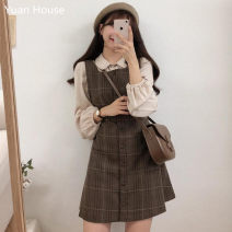 Fashion suit Autumn 2020 S,M,L,XL Plaid vest skirt, apricot shirt, one set 18-25 years old Other / other 71% (inclusive) - 80% (inclusive) cotton
