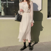 Dress Spring 2020 White, lotus root S,M,L,XL longuette singleton  Long sleeves commute Crew neck middle-waisted Solid color Socket Pleated skirt pagoda sleeve Others 18-24 years old Type X Other / other Korean version Ruffles, ruffles Chiffon