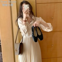 Dress Spring 2021 Apricot S,M,L,XL Mid length dress singleton  Long sleeves commute Polo collar middle-waisted Solid color Single breasted Pleated skirt routine Others 25-29 years old Type A Other / other Korean version