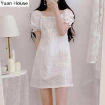 Dress Summer 2020 White, purple S,M,L,XL Short skirt singleton  Short sleeve commute square neck High waist Solid color A-line skirt puff sleeve 18-24 years old Korean version Hollowed out, embroidered, pleated, laced, stitched, strapped
