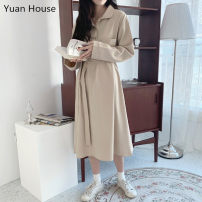 Dress Autumn of 2019 Apricot, dark blue, khaki S,M,L,XL Mid length dress singleton  Long sleeves commute Polo collar High waist Solid color Socket A-line skirt routine Others 18-24 years old Type A Other / other Korean version Lace up, tie, button