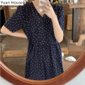Dress Summer 2020 navy blue S,M,L,XL longuette singleton  Short sleeve commute V-neck High waist Dot zipper A-line skirt routine Others 18-24 years old Type A Other / other Korean version Bowknot, lace up, stitching, bandage, printing