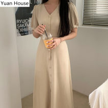 Dress Summer 2020 Apricot, pink S,M,L Mid length dress singleton  Short sleeve commute V-neck High waist Solid color Single breasted A-line skirt puff sleeve Others 18-24 years old Type H Korean version