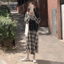 Dress Autumn of 2019 Green vest + Plaid Dress, green vest, Plaid Dress Average size Mid length dress Two piece set Long sleeves commute Polo collar lattice Socket A-line skirt routine Others 18-24 years old Type A Korean version