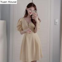Dress Summer 2020 yellow S,M,L,XL Short skirt singleton  Short sleeve commute V-neck High waist lattice Socket A-line skirt puff sleeve 18-24 years old Type A Korean version Zipper, stitching