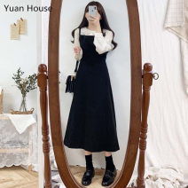 Dress Autumn 2020 S,M,L,XL Mid length dress singleton  Sleeveless commute square neck High waist Solid color zipper A-line skirt shirt sleeve straps 18-24 years old Other / other Korean version straps