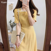 Dress Summer 2020 Lake blue, yellow, khaki, black S,M,L,XL Mid length dress singleton  Short sleeve commute Solid color zipper A-line skirt routine Others 18-24 years old Type A Korean version