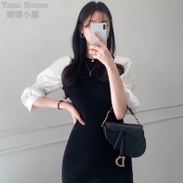 Dress Spring 2021 black S,M,L Short skirt singleton  commute Crew neck High waist Socket A-line skirt puff sleeve 25-29 years old Type A Korean version 71% (inclusive) - 80% (inclusive)
