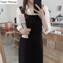 Dress Autumn 2020 Black skirt, white shirt, white shirt + black skirt S,M,L,XL Mid length dress Two piece set Long sleeves commute square neck High waist Solid color A-line skirt shirt sleeve straps 18-24 years old Korean version Pleating, folding, stitching 31% (inclusive) - 50% (inclusive)