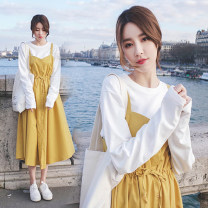 Dress Summer 2020 Yellow skirt S,M,L,XL singleton  Sleeveless commute stand collar High waist Solid color Three buttons A-line skirt camisole Type A Korean version Bowknot, tuck, fold, lace up, stitching, strap, strap, button brocade cotton