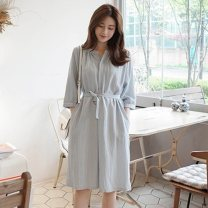 Dress Summer 2020 Lake blue S,M,L,XL singleton  elbow sleeve commute Half open collar Loose waist Solid color Socket other routine Others 18-24 years old Type A Korean version 51% (inclusive) - 70% (inclusive) other cotton