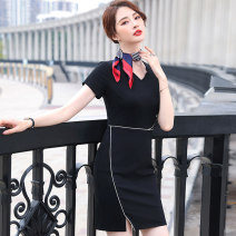 Dress Summer 2021 S M L XL 2XL 3XL 4XL 5XL Mid length dress singleton  Short sleeve commute V-neck High waist Solid color Socket One pace skirt routine Others 25-29 years old Huan Yi Xian Ol style 31% (inclusive) - 50% (inclusive) other nylon Pure e-commerce (online only)