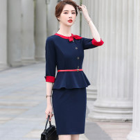 Dress Summer 2021 Black dress (for belt) grey dress (for belt) Navy Dress (for belt) S M L XL 2XL 3XL Middle-skirt singleton  elbow sleeve commute Crew neck High waist Solid color Socket One pace skirt routine Others 25-29 years old Huan Yi Xian Ol style AMZ-639TM-2 71% (inclusive) - 80% (inclusive)