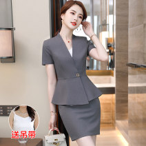 Professional dress suit S M L XL XXL 3XL 4XL 5XL Summer 2021 Short sleeve YWZ-8613-3 loose coat Suit skirt 25-35 years old Huan Yi Xian Polyester 97.8% polyurethane elastic fiber (spandex) 2.2% Pure e-commerce (online only)