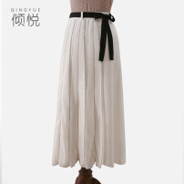 skirt Spring 2021 XS S M L XL white Mid length dress commute Natural waist Pleated skirt stripe Type A 30-34 years old 71% (inclusive) - 80% (inclusive) other Qing Yue cotton literature Pure e-commerce (online only) 201g / m ^ 2 (including) - 250G / m ^ 2 (including)