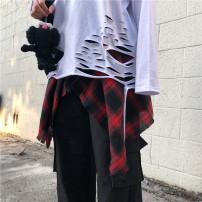 T-shirt White hole bottom, red skirt, brown skirt, black skirt, Navy skirt M,L,XL Summer 2021 Long sleeves Crew neck easy Medium length routine street polyester fiber 96% and above 18-24 years old other hole neutral