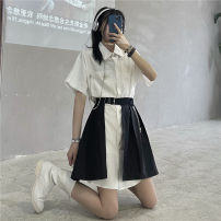 Dress Summer 2021 White single shirt, grey single shirt, black skirt with chain Average size Middle-skirt Two piece set Short sleeve street square neck middle-waisted Solid color Single breasted Pleated skirt routine 18-24 years old Type A More than 95% cotton